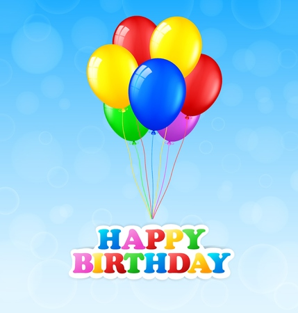 welcoming party: Happy birthday background with balloons Stock Photo