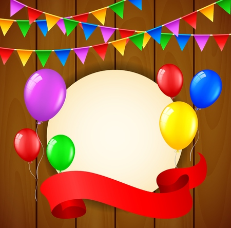 welcoming party: Birthday background with balloons and place for text on wooden background