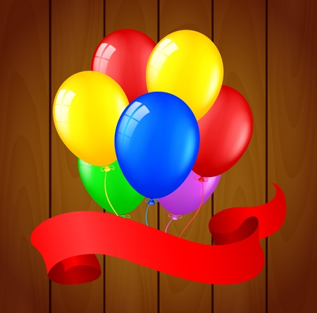 welcoming party: Modern birthday balloons on wooden background