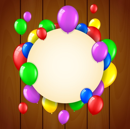 welcoming party: Birthday background with flying balloons and place for text on wooden background Stock Photo