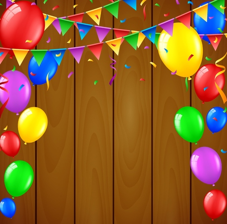 welcoming party: Birthday background with flying balloons on wooden background