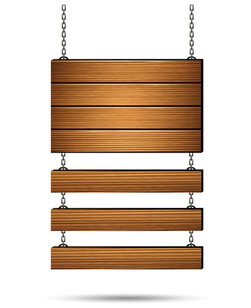 wood molding: Wooden board on the chains Illustration