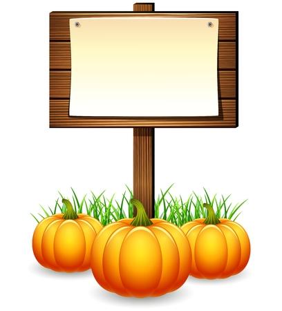 Wooden sign board with pumpkins Illustration