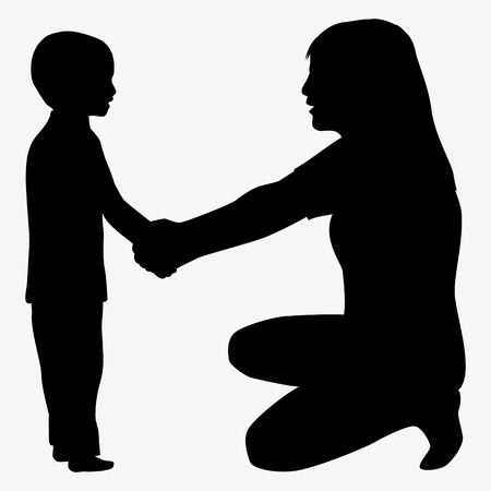 father and son holding hands: Mother and child silhouette