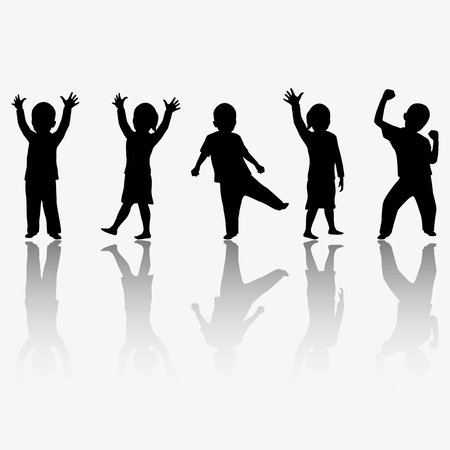 Children silhouettes Stock Vector - 67669933