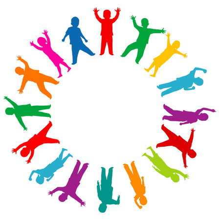 Colored children silhouettes in the circle