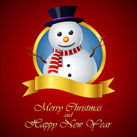 Carte de voeux de Noël avec bonhomme de neige Vecteurs