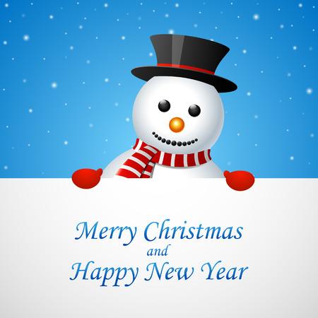 Joyeux bonhomme de neige de Noël carte de voeux Vecteurs