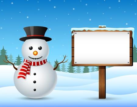 Paysage d'hiver avec bonhomme de neige et panneau en bois Vecteurs
