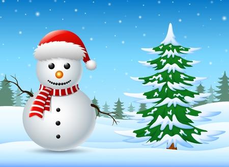 Paysage d'hiver avec bonhomme de neige et de pins