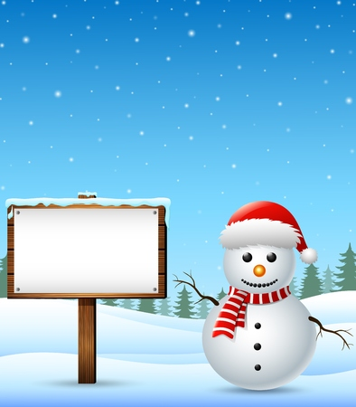 Winter landscape with snowman and wooden sign