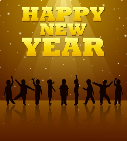 Silhouette of children who celebrate the new year