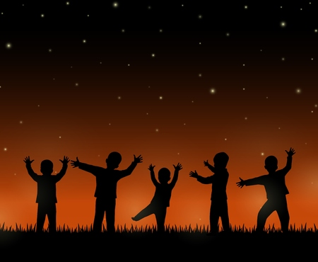 crowd happy people: Children silhouette on the night background