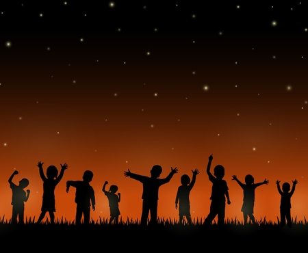 Children silhouette on the night background