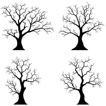 Collection d'arbres silhouettes sur le fond blanc