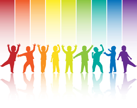 crowd happy people: Children silhouettes on rainbow background Stock Photo