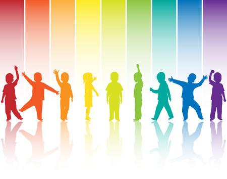 little boys: Children silhouettes on rainbow background Stock Photo