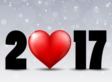Happy New Year 2017 with red heart