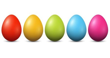 Colourful Easter Eggs on white background Illustration