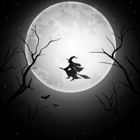 Halloween achtergrond met vliegende heks op de volle maan