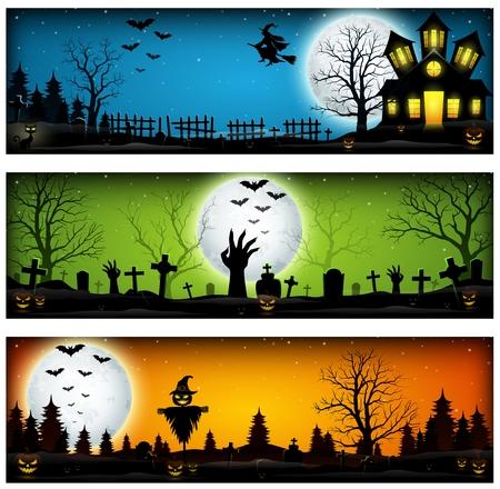 Drie Halloween Banners Stockfoto - 86249410