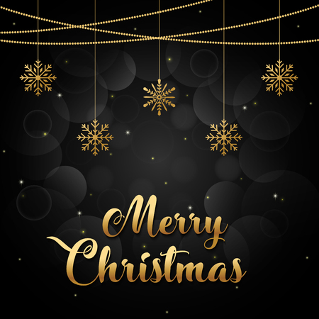 Merry Christmas background gold and black collors