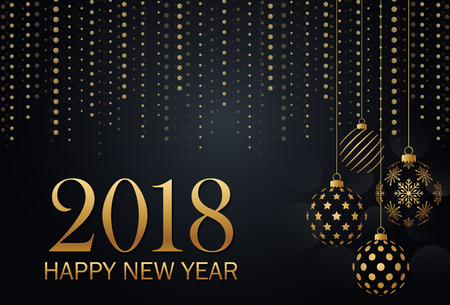 Happy New Year 2018 gold and black collors with christmas balls Imagens