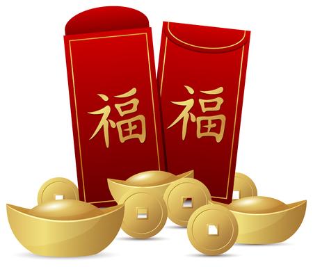 Chinees Nieuwjaar met rode envelop en gouden geld