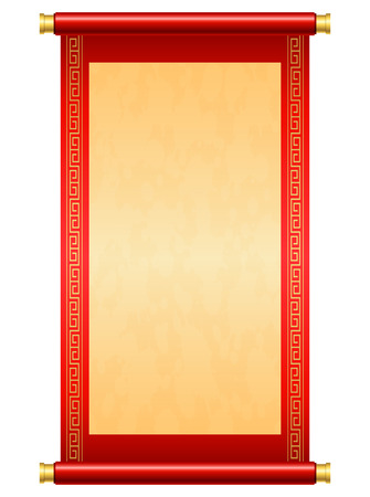 Chinese scroll illustration on white background Çizim
