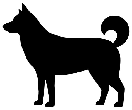 Silhouette of dog on white background