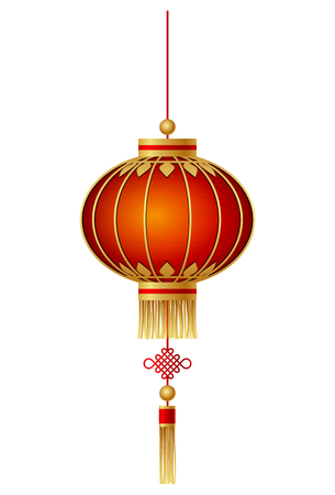 Chinese lantaarn die op witte achtergrond wordt geïsoleerd