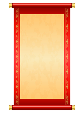 Chinese scroll illustration on white background Imagens