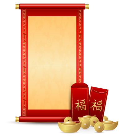 Chinese scroll with red envelope and gold money