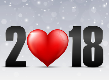 Happy New Year 2018 with red heart