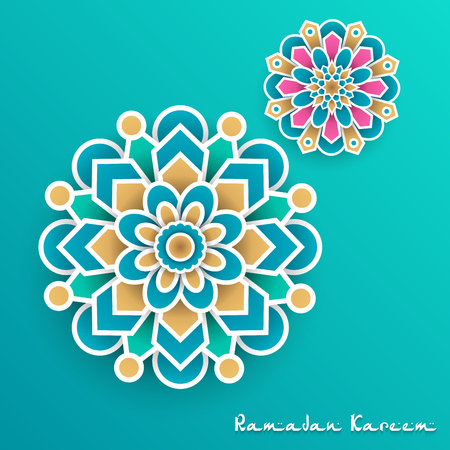 Ramadan Kareem with paper graphic of islamic