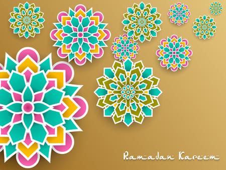 Ramadan Kareem with paper graphic of islamic decoration