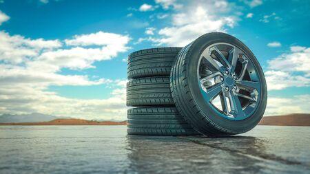 Tires rolling on asphalt in at summer. - 3D illustration