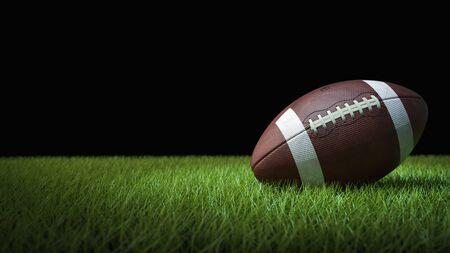 American football on green grass - 3D Render
