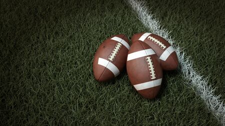 A close-up of American balls on the field