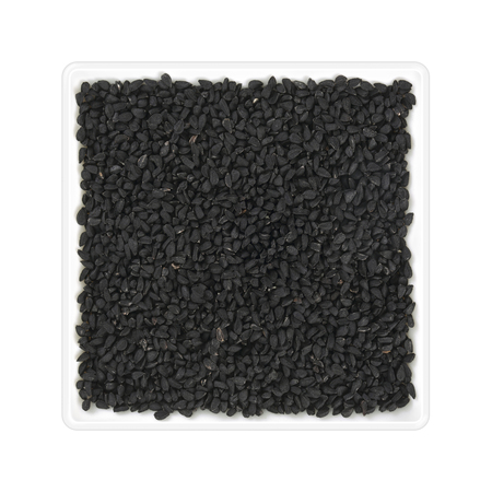 Nigella seeds in square bowl on white background