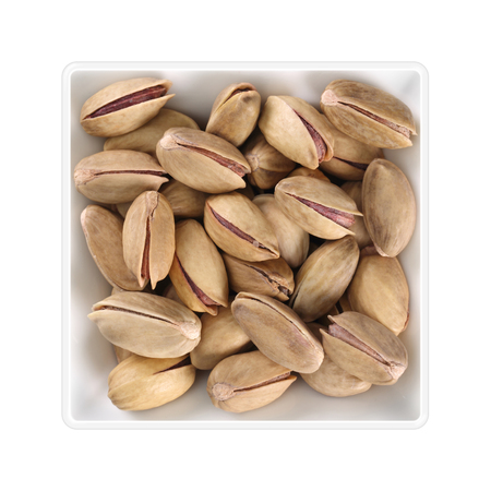Pistachios (Antep) in square bowl on white background