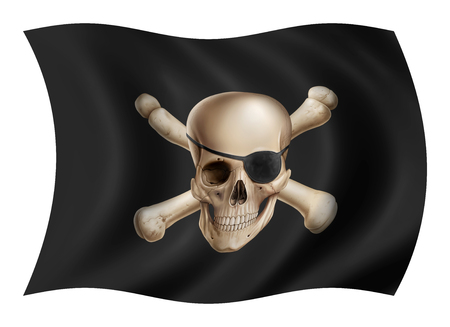 Pirate flag illustration, digital painting