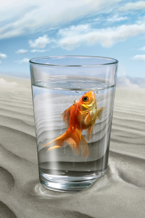 Fish floating in a glass of water, illustration, digital painting Stock Photo