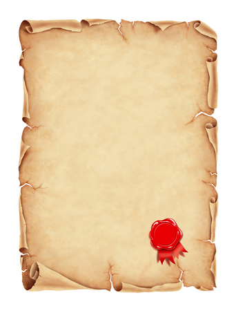 Old parchment paper with red wax sealillustration, digital painting