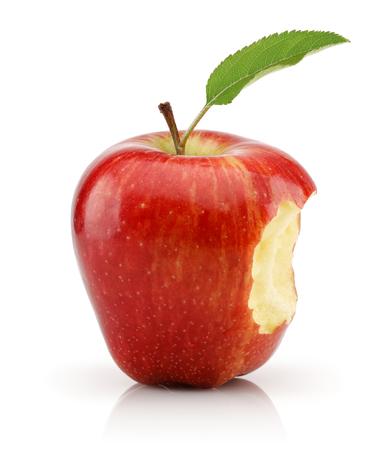 Bitten red apple isolated on white background. Studio shot Stock Photo