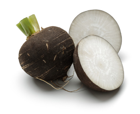 Sliced black radish isolated on white background