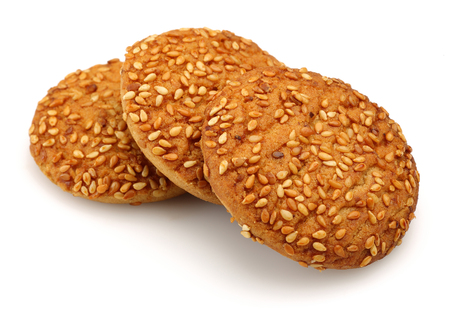 Sesame biscuits isolated on white background
