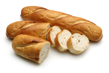 French bread, baguette with slices isolated on white background. Studio shot Banco de Imagens