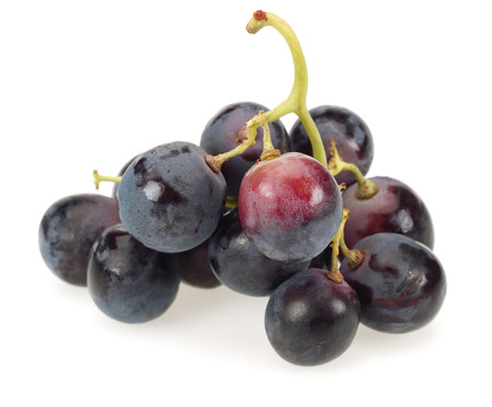 Bunch of black grapes isolated on white background