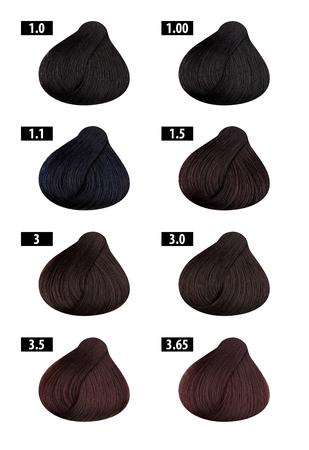 Haircolor and Hair dye, colours chart, colour numbers 1 Banco de Imagens